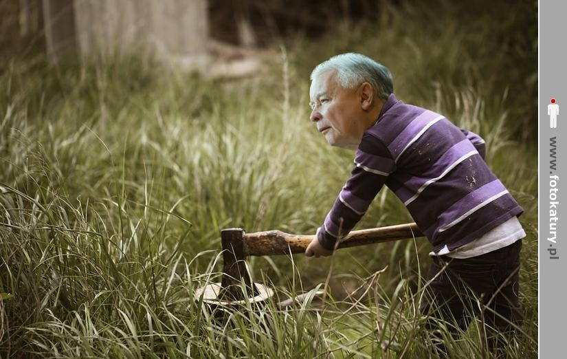 Jarosław Kaczyński rąbie przeciwników (drewno) - MNOO.